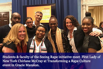 Students & faculty of the Seeing Rape initiative meet  First Lady of New York Chirlane McCray at Transforming a Rape Culture event in Gracie Mansion.