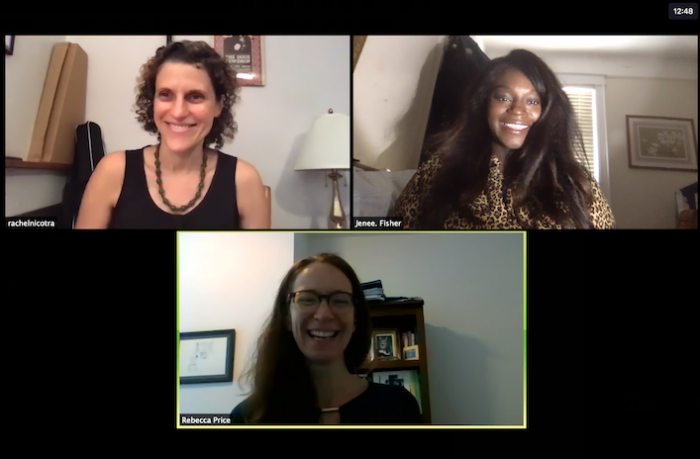 Fisher (top right) sits in on a Zoom call with Rebecca Price, Director of the SDNY Mediation Program, and Rachel Nicotra, SDNY mediator
